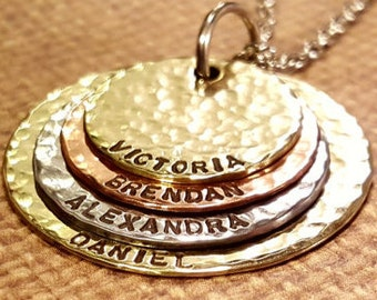 Mother..Grandmother necklace with 4 names...hand stamped mixed metal