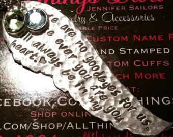 Angel WING handstamped MEMORIAL necklace in High Quality Aluminum with 2 birthstones