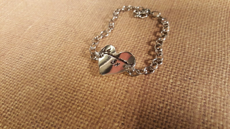 Large Actual HANDWRITING heart Charm BRACELET in Fine .999 Silver