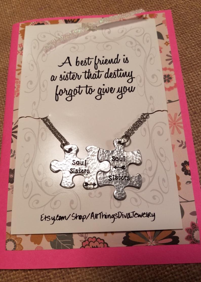 SOUL SISTERS necklace set with poem-handstamped arrow puzzle pieces
