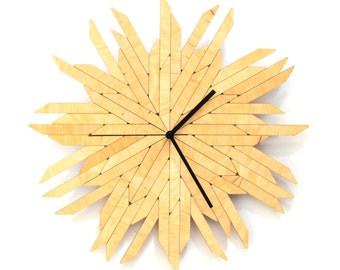 Silent wall clock with organic shape, a piece of laser cut wall art made of natural birch plywood - Haystack natural