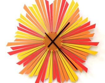 Elegant red / yellow starburst clock with silent movement, a beautiful above bed decor  - The Setting Sun