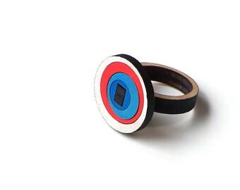 Stylish laser cut wooden ring - model 2/3