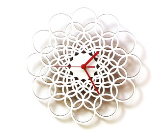 Rings white M / L / XL - unique contemporary wooden wall clock made of natural materials
