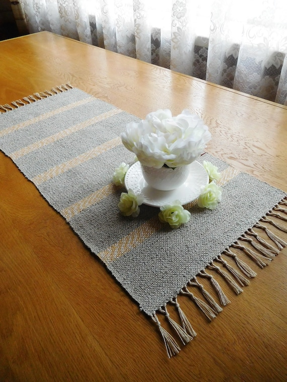 Coffee Table Runner Natural Farmhouse Decor Rustic Wedding Etsy