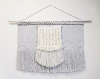 Large woven wall hanging wall weaving tapestry, wall weaving, handwoven hanging, large macrame wall hanging large wall hanging grey
