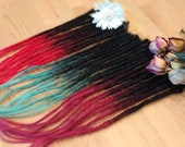 10 Human Hair Dreadlocks - Ombré Black to Colorful / Dreadlock Extensions / Extensions /