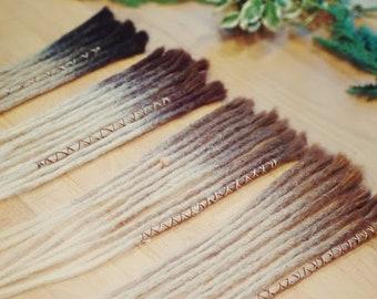 10 Human Hair Dreadlocks - Ombré Light Brown/Medium Brown/Dark Brown/Black to Blonde / Dreadlock Extensions / Extensions /