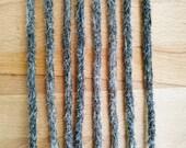 Echthaar Dreadlocks schwarz-grau marmoriert / Salt n Pepper / Dread Verlängerungen / Extensions