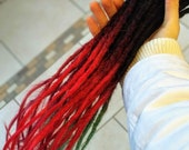 Human Hair Dreadlocks ombré - Black to Bright Red / Fire Red / Dread Extensions / Extensions