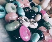 Set dreadbeads made of semi-precious stones