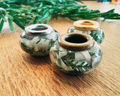 Dread beads m. straw flower and heather green / natural pearls / dreadbeers dreadlock beads / beard beads / dreadlock beads