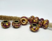 Dread Beads m. Roses Yellow/Pink / Natural Beads / Dread Beads Dreadlock Beads / Beard Beads / Dreadlock Beads