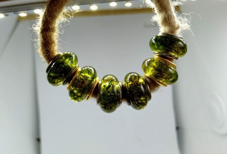 Dread Beads m. Moss II / Natural Beads / Dread Beads Dreadlock image 0
