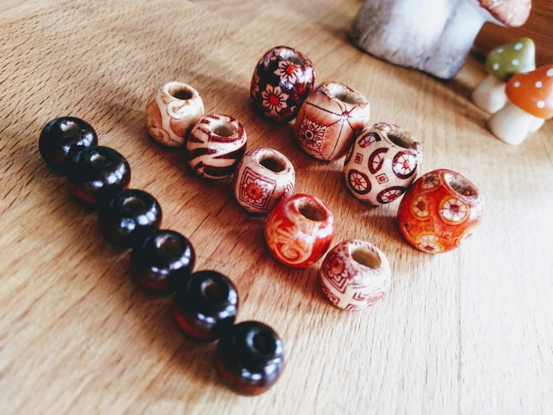 5 dread beads wood all sizes image 0
