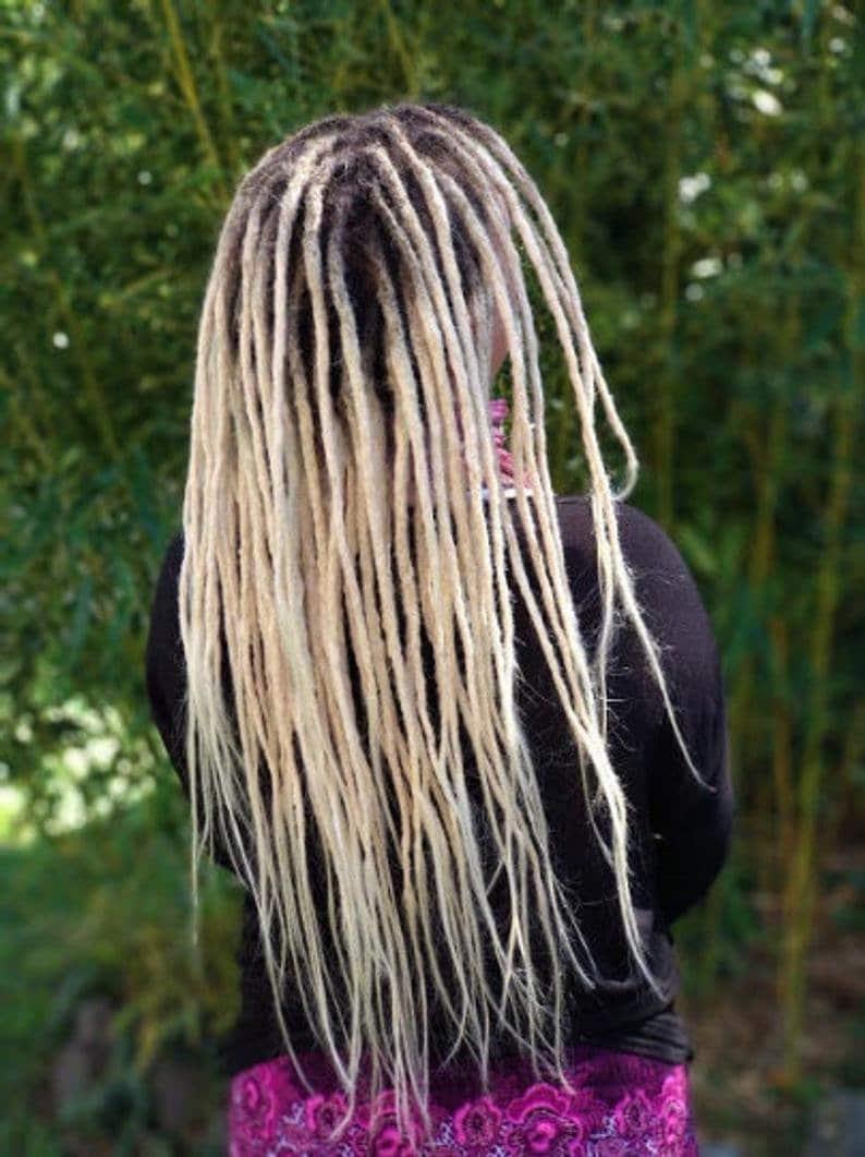 Human hair dreadlocks white blonde / platinum blonde / dread image 0