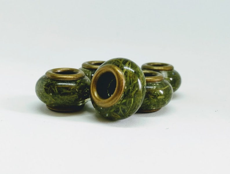 Dread beads with larch needles / natural beads / dread beads image 0
