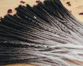 Human Hair Dreadlocks Black-Grey ombre / Dread Extensions / Extensions