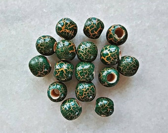 Crackle beads gold / green // Dread beads