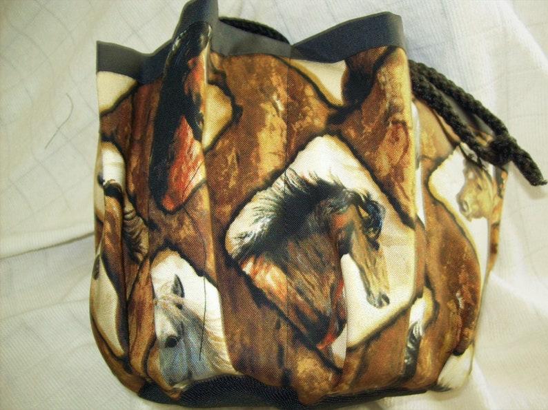 Horses in Frames Print Cloth 9 Pocket Bingo Bag