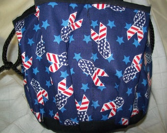 Red White and Blue Ribbons  Cloth  Bingo Bag