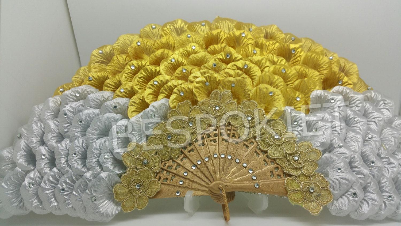 Rose Petal Decorative wedding Hand fan Nigerian engagement | Etsy