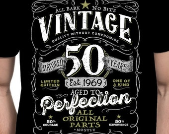 4df27739 50th Birthday Shirt For Men and Women - Vintage 1969 Aged To Perfection  Mostly Original Parts T-shirt Gift More colors available V-50-1969