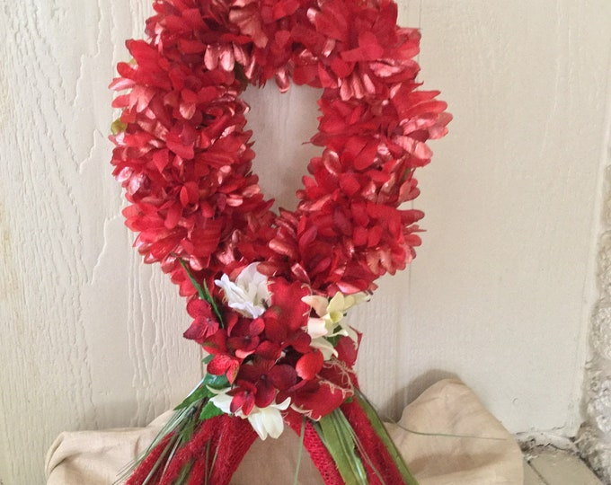 Year End Sale red memorial ribbon, grave decoration, memorial flowers, Floral Memorial, grave marker, in memory of
