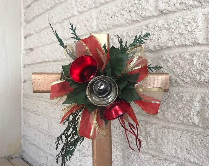 Christmas Cemetery Cross , flowers for grave, holiday grave decoration, memorial cross, Cross for grave, cemetery cross.