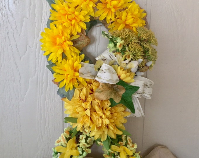 Year End Sale yellow memorial ribbon, grave decoration, memorial flowers, Floral Memorial, grave marker, in memory of