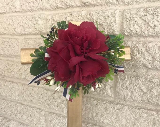 "Americana colors, 18"" Cemetery Cross , flowers for grave, grave decoration, memorial cross, Cross for grave, cemetery cross."