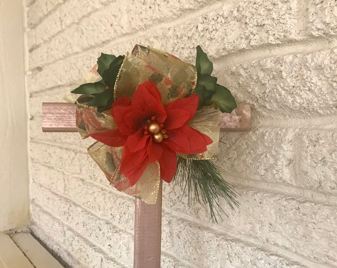 SALE Christmas Cemetery flowers, flowers for grave, holiday grave decoration, memorial cross, Cross for grave, cemetery cross.