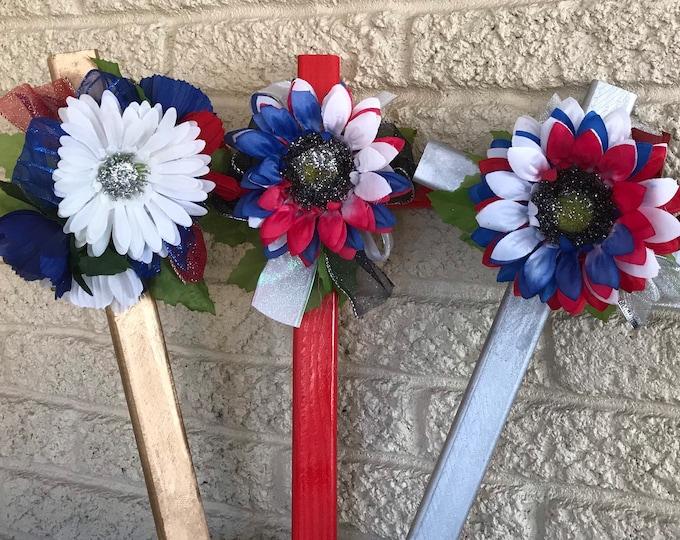 Patriotic Cemetery- grave memorial - red white and blue grave- memorial cross - cemetery flowers- 2018 inventory.