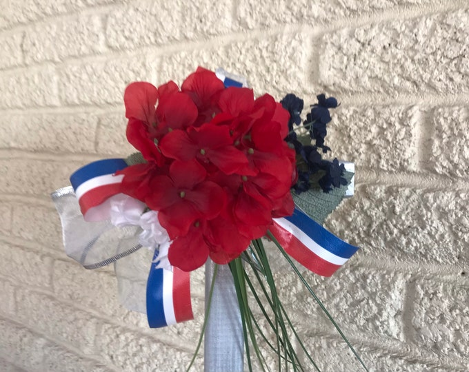 Patriotic Cemetery Cross , flowers for grave, red-white-blue grave decoration, memorial cross, Cross for grave, cemetery cross.