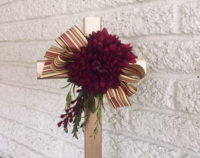 Fall Cemetery Cross with flower arrangement, memorial cross, flowers for cemetery, grave decoration