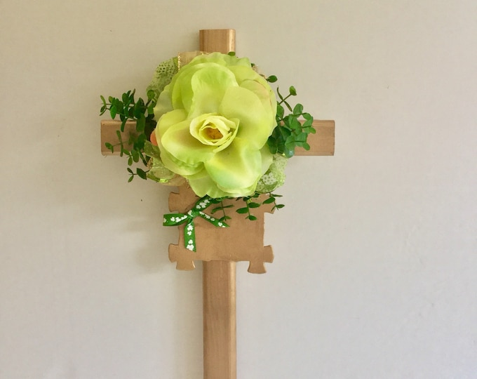 St. Patrick's Day Cemetery cross, personalized memorial, grave decoration, memorial cross, Floral Memorial, grave marker, in memory of