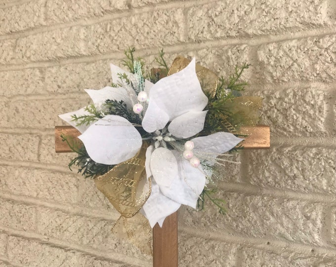 Christmas cemetery cross, grave decoration, cross, holiday grave, Christmas grave, New size.