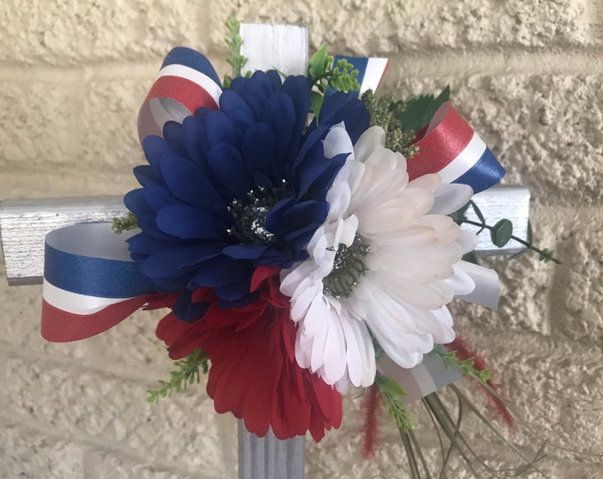 Patriotic Cemetery Cross , flowers for grave, grave decoration, memorial cross, Cross for grave, cemetery cross.