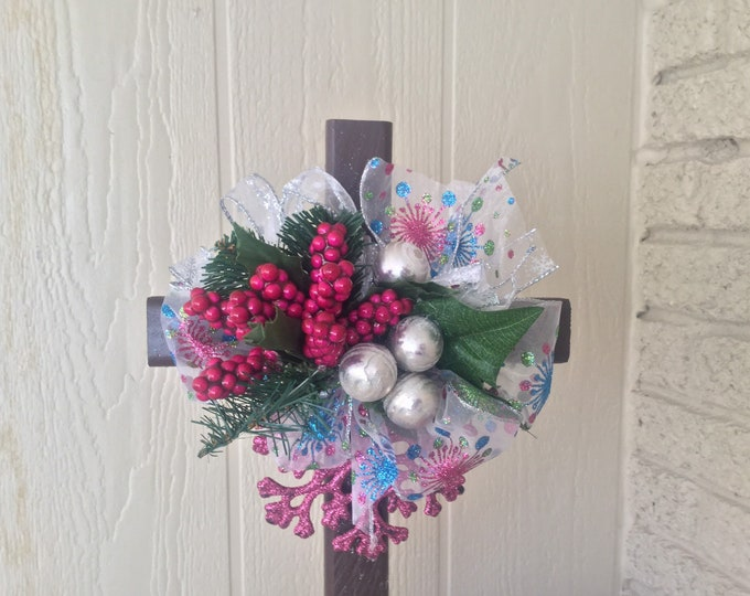 Christmas grave decoration, Christmas cemetery, silk grave flowers, holiday cemetery cross