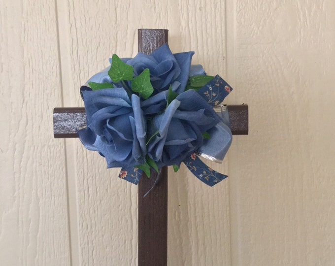 Cemetery , blue roses, grave memorial, grave decoration, memorial cross, Floral Memorial, grave marker, in memory of
