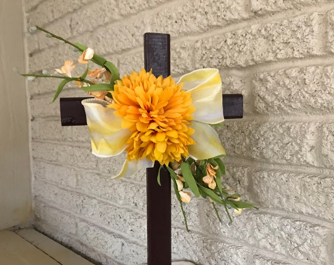 Cemetery cross with flowers, flowers for grave, grave decoration, memorial cross, Cross for grave, cemetery cross