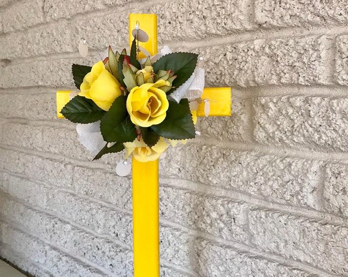 Grave cross, cemetery flowers, memorial marker, memorial cross for cemetery, floral memorial