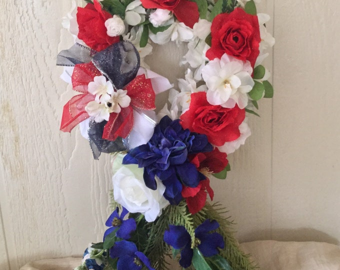 Year End Sale Patriotic memorial ribbon, grave decoration, Floral Memorial, grave marker, in memory of, red white and blue