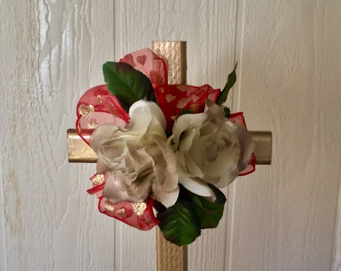 Valentine grave decoration, Valentine red cemetery, roses grave, silk grave flowers, holiday cemetery cross