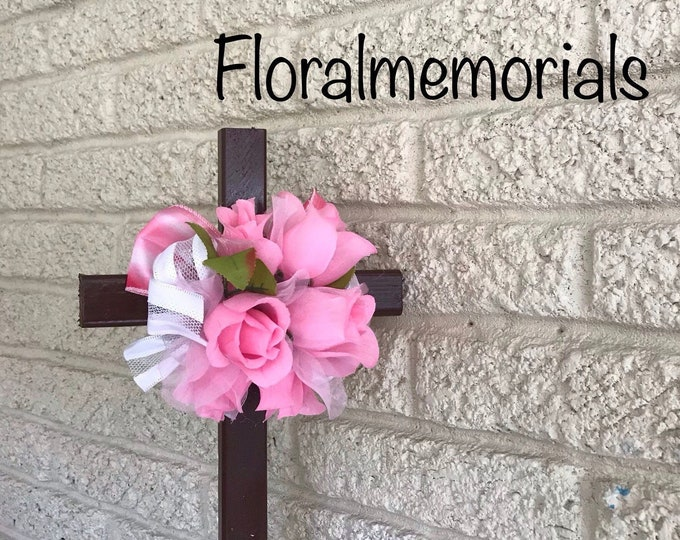 Cemetery flowers, flowers for grave, grave decoration, memorial cross, Cross for grave, cemetery cross, memorial cross, in memory of