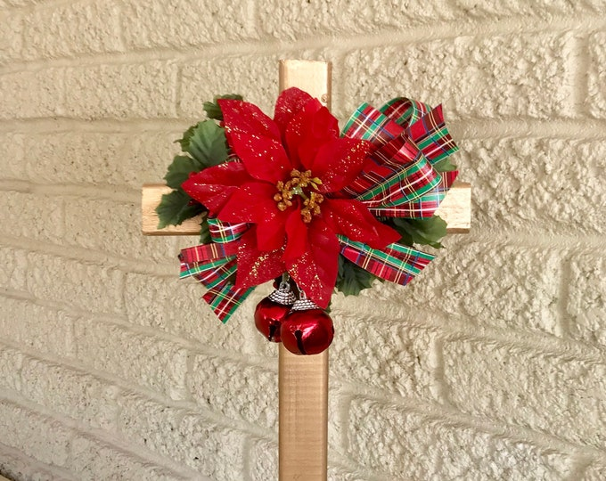 Christmas Cemetery flowers, flowers for grave, holiday grave decoration, memorial cross, Cross for grave, cemetery cross.