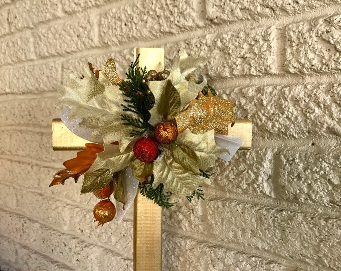 Holiday Cemetery Cross, flowers for grave, holiday grave decoration, memorial cross, Cross for grave, cemetery cross.