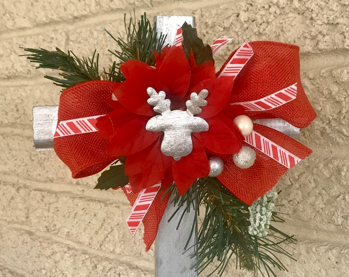 Christmas Cemetery cross with flowers, flowers for grave, grave decoration, memorial cross, Cross for grave, cemetery cross, memorial cross,