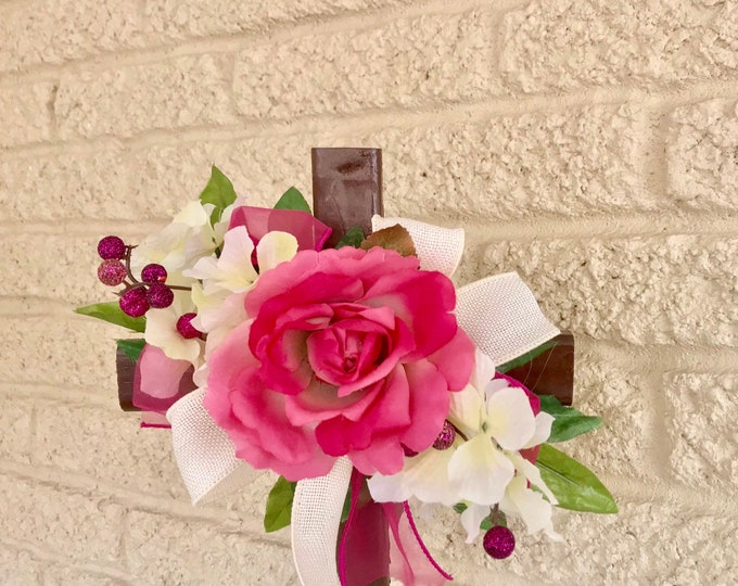 Pink flowers Grave cross, cemetery flowers, memorial marker, memorial cross for cemetery, floralmemorial