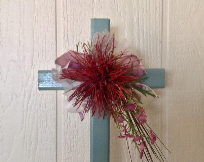 Cemetery cross, desert grave memorial, grave decoration, memorial cross, Floral Memorial, grave marker, in memory of
